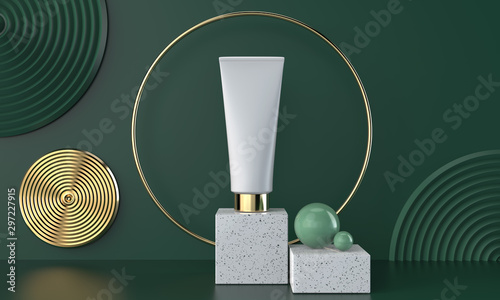 Obraz Natural cosmetic 3d package on marble with green background, 3D illustration. - fototapety do salonu