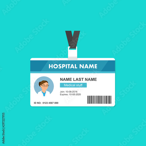 Pinturas sobre lienzo  Doctor ID card template in flat style. Medical identity badge