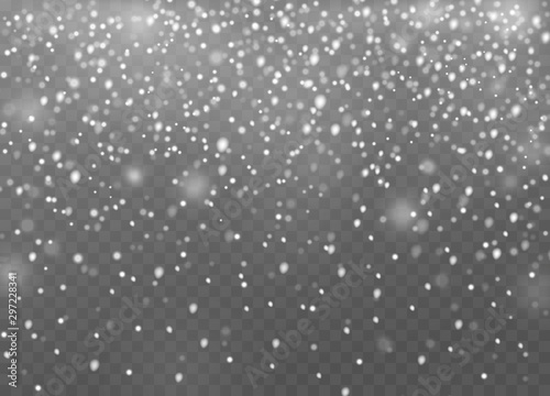 Obraz Falling snow. Christmas shining snowflakes in different shapes, snowfall and snow drifts, winter snowstorm new year landscape vector mockup - fototapety do salonu