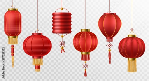 Fototapeta Chinese lanterns. Japanese asian new year red lamps festival 3d chinatown traditional realistic element vector set obraz
