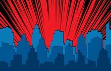 Comic Cityscape. Retro Urban S...