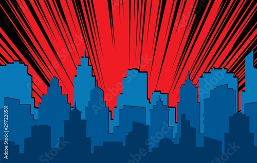 Fototapeta Comic cityscape. Retro urban silhouette of city buildings for art book comics with light effects vector scene background obraz