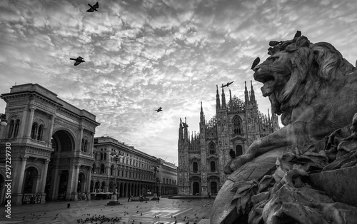 milano piazza duomo cathedral galleria and lion monument at sunrise cloudy sky b Canvas Print