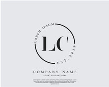Initial Letter LC Beauty Handwriting Logo Vector