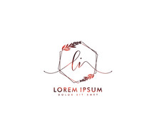 Initial Letter LI Beauty Handwriting Logo Vector