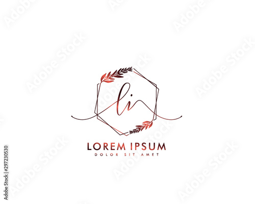 Photo Initial letter LI beauty handwriting logo vector
