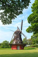 Copenhagen, Denmark. Kastelsmollen Windmill Inside The Kastellet Castle. 17th-century Fortress With Museum