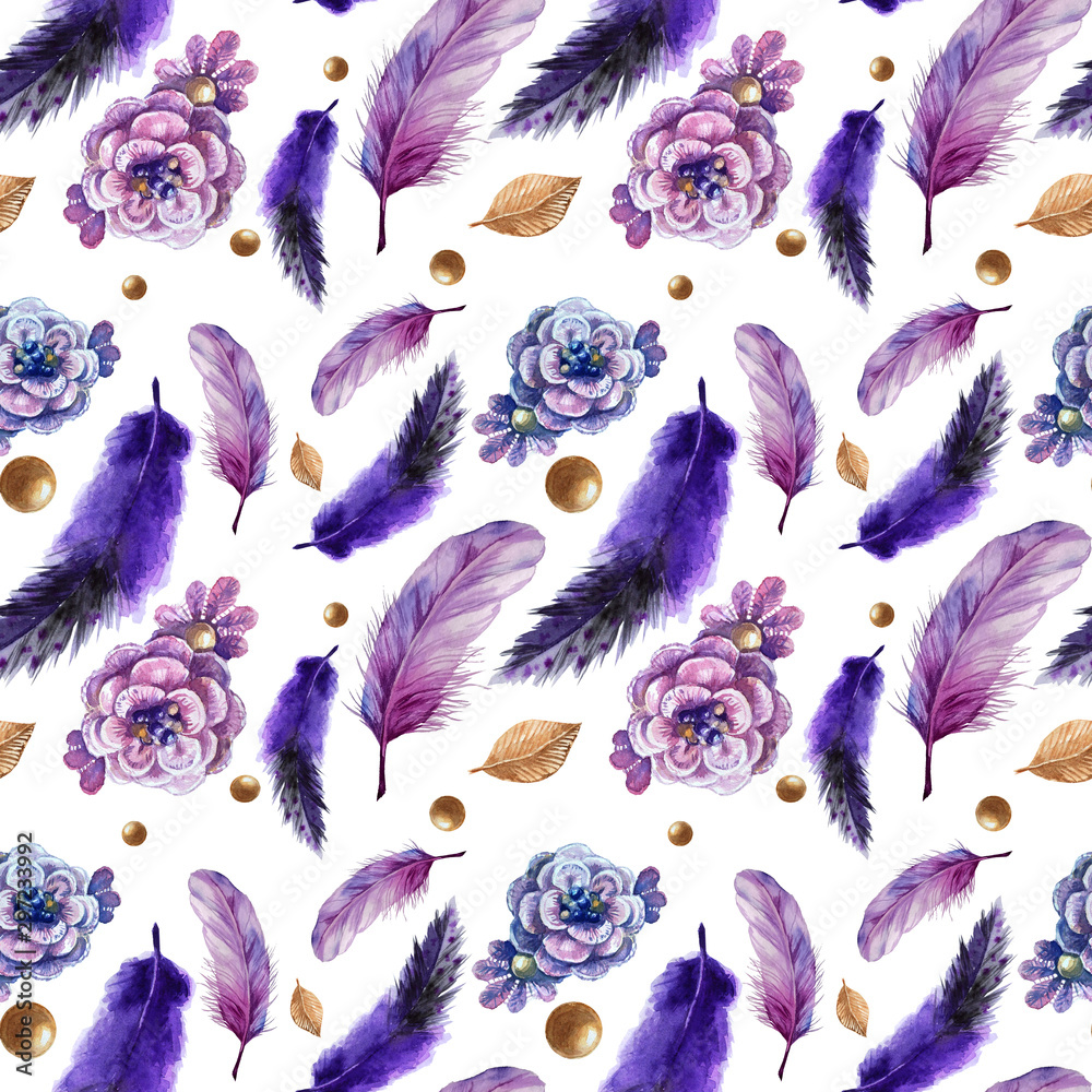 Watercolor seamless boho pattern with feathers.