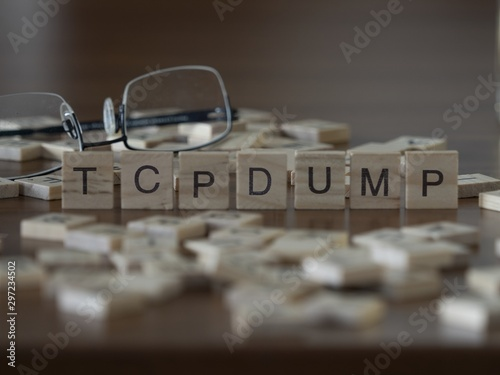 The concept of Tcpdump represented by wooden letter tiles Wallpaper Mural