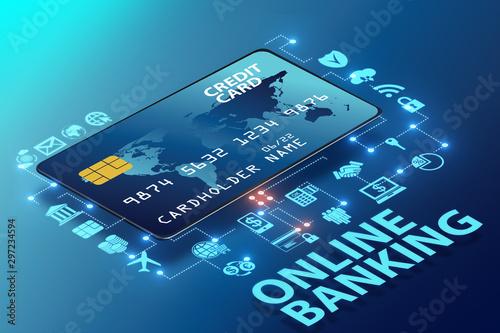 Fototapeta Online banking concept - 3d rendering obraz