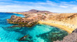 Leinwanddruck Bild - Landscape with turquoise ocean water on Papagayo beach, Lanzarote, Canary Islands, Spain