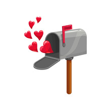 Mail Box, Red Flag And Hearts