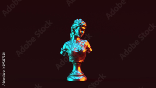 Fotomural Silver Lady Bust Sculpture with Red Orange and Blue Green Moody 80s lighting Fro