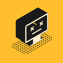 Isometric Dead Monitor Icon Is...