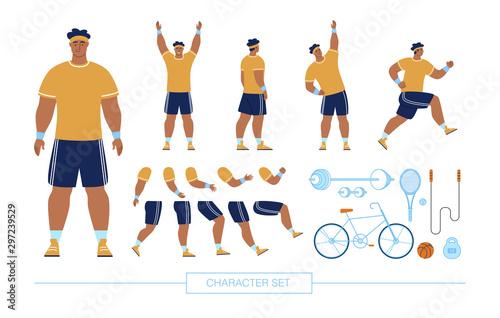 Sportsman Character Constructor Flat Vector Set Canvas