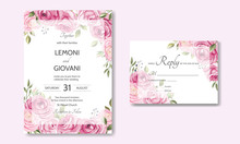 Wedding Card Template With Beautiful Roses And Leaves