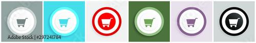 Cart icon set, colorful flat design vector illustrations in 6 options for web de Fotobehang