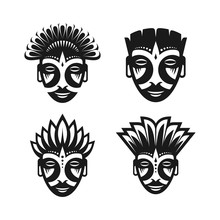 Ancient Tribal Mask, Silhouett...