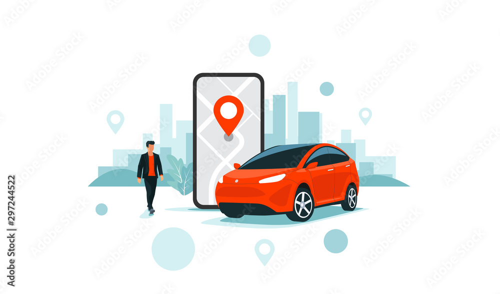 Fototapeta Vector illustration of autonomous online car sharing service controlled via smartphone app. Phone with location mark and smart car with modern city skyline. Isolated connected vehicle remote parking.