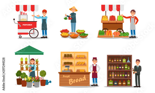 Fotografie, Obraz Vendors Characters Selling Products Vector Illustrated Set