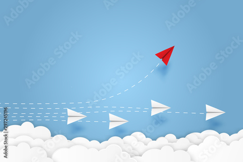Fotografia, Obraz  Paper plane go to success goal vector business financial concept start up, leadership, creative idea symbol paper art style with copy space for text