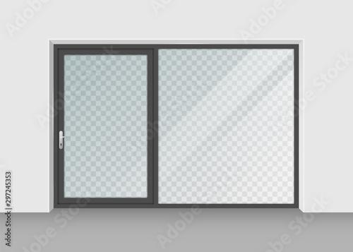 Fototapeta door with transparent glass isolated on background. Vector illustration. obraz