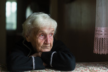 Portrait Of Sad Elderly Woman ...