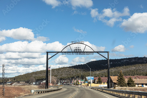 Wall Murals Route 66 entering the iron town gate to the city of Williams, the gateway to the Grand Canyon