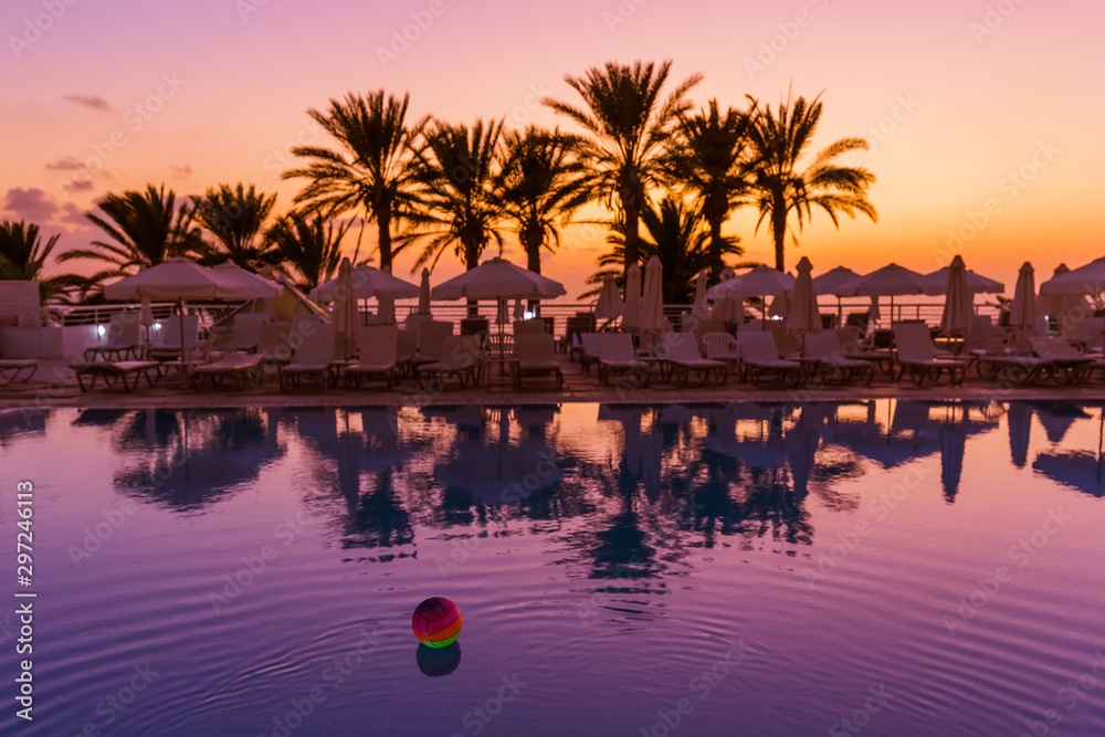 Fototapety, obrazy: Swimming pool on Cyprus island at sunset