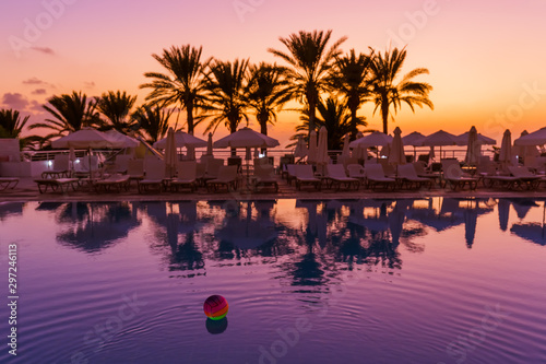 Papiers peints Chypre Swimming pool on Cyprus island at sunset