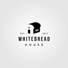 White Bread House Logo Vintage Bakery Vector Design Illustration