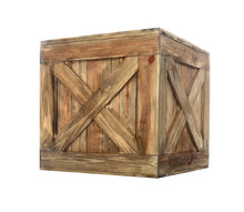 Old Closed Wooden Crate Isolated On White