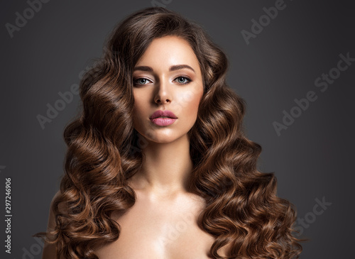 Beautiful woman with long brown hair Canvas Print