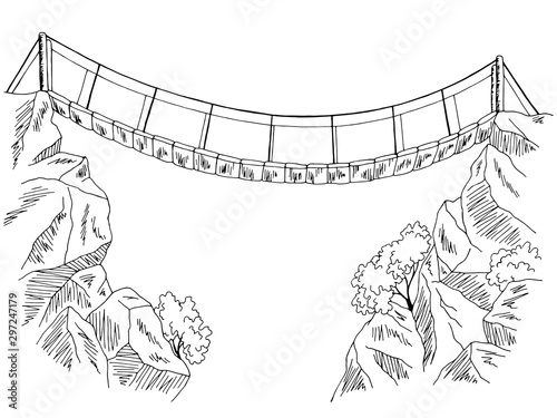 Bridge over the abyss graphic black white landscape illustration vector Wallpaper Mural