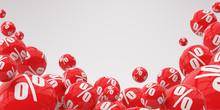 Illustration For Advertising. Many Flying Red Spheres Percent On White Background. 3d Render Illustration.