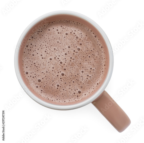 Foto auf Gartenposter Schokolade Delicious cocoa in beige cup on white background, top view
