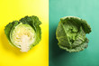 canvas print picture - Fresh savoy cabbages on color background, flat lay