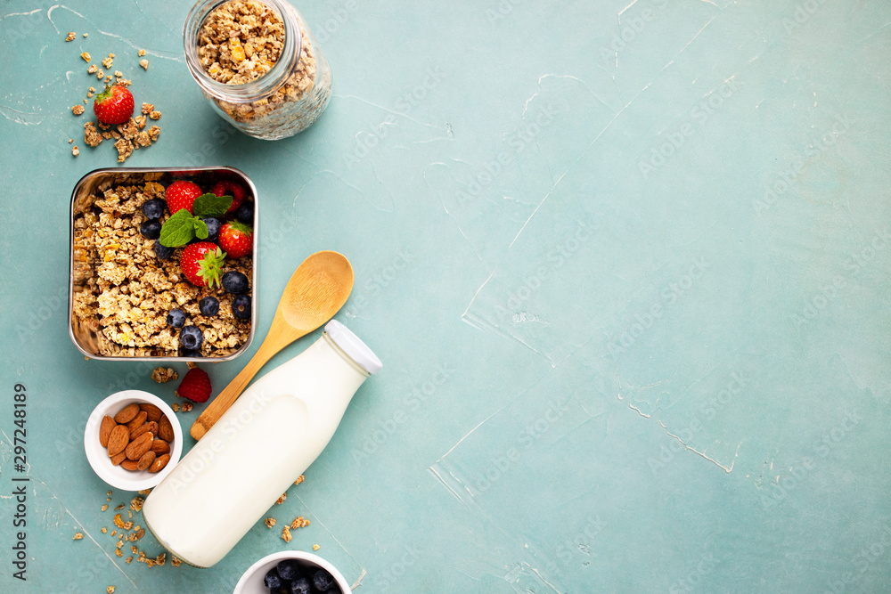 Fototapety, obrazy: Metal container with ingredients for healthy breakfast