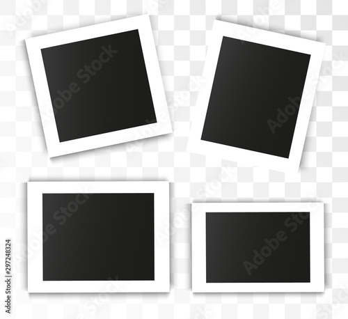 Obraz  Realistic vector photo frame on a transparent background. Set of photos for illustration. - fototapety do salonu