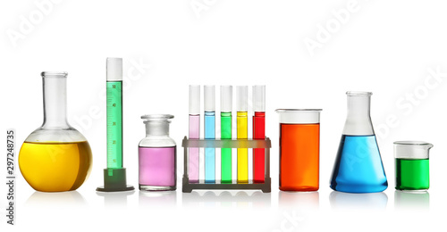 Laboratory glassware with colorful liquids on white background Canvas Print