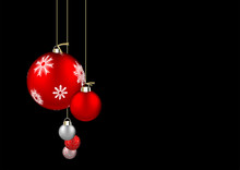 Christmas Balls Isolated On Black Background. Festive Xmas And New Year Background Decoration Red And Silver Bauble With Snowflakes, Hanging On The Ribbon.