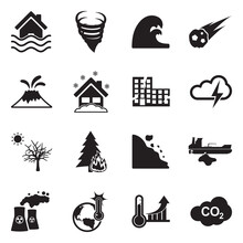 Natural Disaster Icons. Black ...