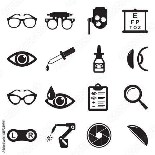 Cuadros en Lienzo Optometry Icons. Black Flat Design. Vector Illustration.