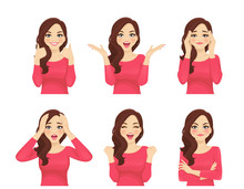 Set Of Young Beautiful Woman With Different Emotions. Facial Expression With Various Gestures Isolated Vector Illustration
