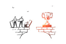 Teamwork, Partnership And Achieving Goals Concept Sketch. Hand Drawn Isolated Vector