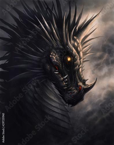 Foto Black dragon portrait