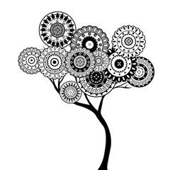 Fototapeta Drzewa Black and white oriental motifs tree