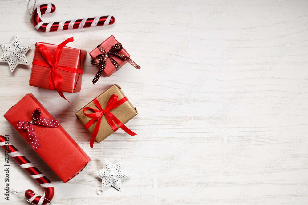Fototapety, obrazy: red gift boxes and decorations on Christmas table background.