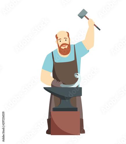 Cartoon blacksmith worker, isolated on white background. Colorful cartoon icon.