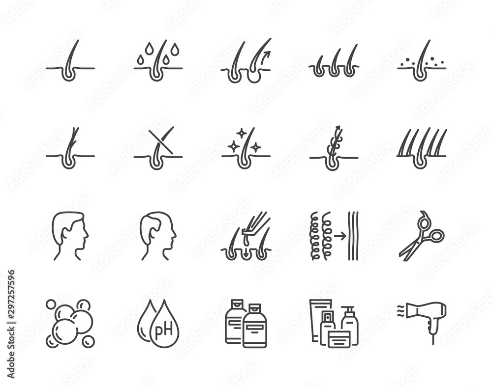 Fototapety, obrazy: Hair loss treatment flat line icons set. Shampoo ph, dandruff, hair growth, keratin, conditioner bottle vector illustrations. Outline signs for beauty store. Pixel perfect 64x64. Editable Strokes
